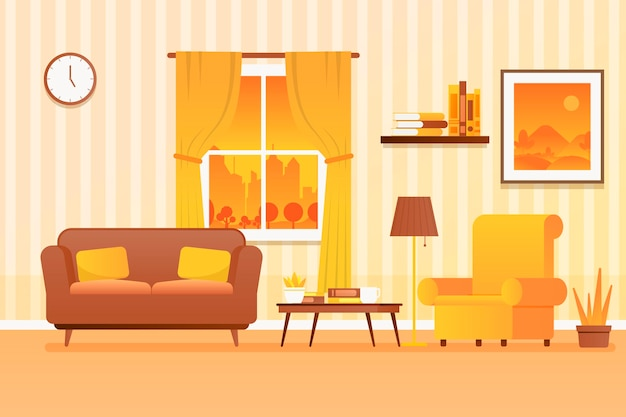 Backgroundhome decor for video conferencing Premium Vector