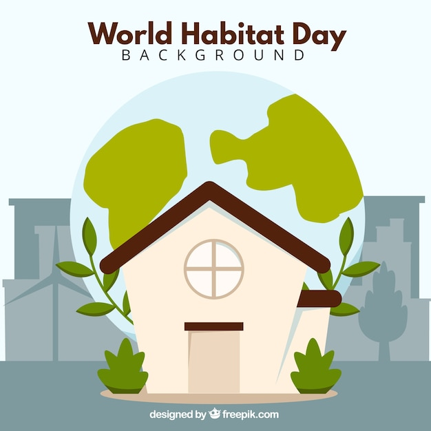 Background of house with vegetation for world habitat day Free Vector