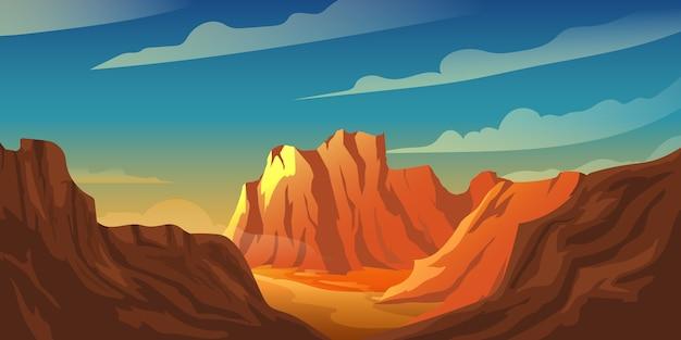砂漠の夕日の山の崖の背景イラスト Premiumベクター