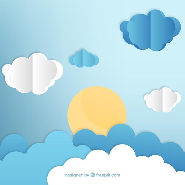Фон в стиле бумаги с облаками и солнцем Бесплатные векторы