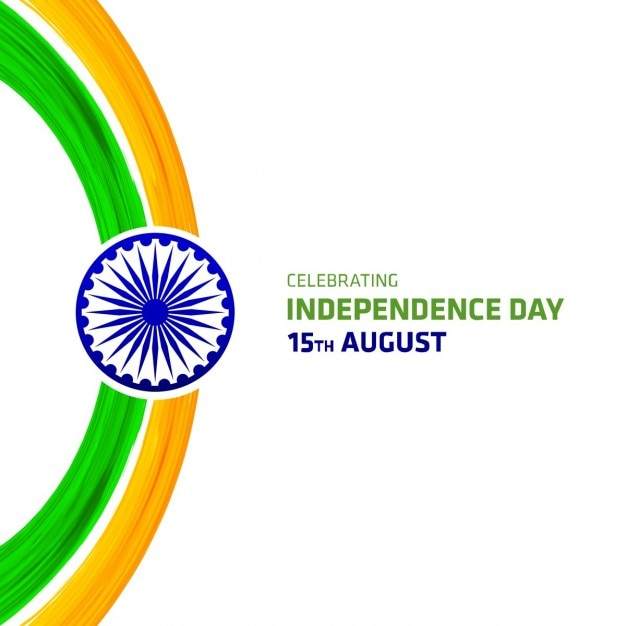 Background independence day of india with watercolor brush strokes Free Vector