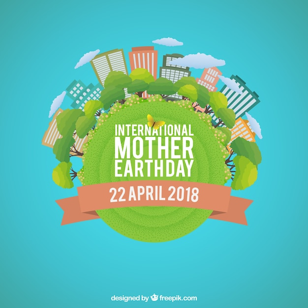 Background for the international mother earth day in flat design Free Vector