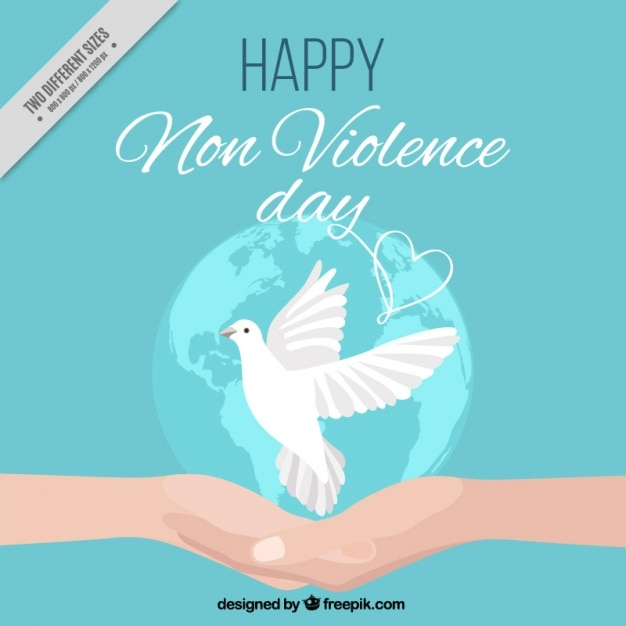 Background international non violence day with a dove Free Vector