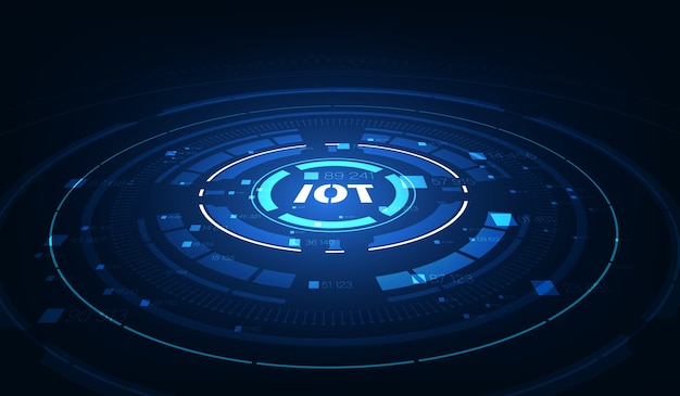 Background iot. internet of things devices and connectivity concepts on a network. Premium Vector