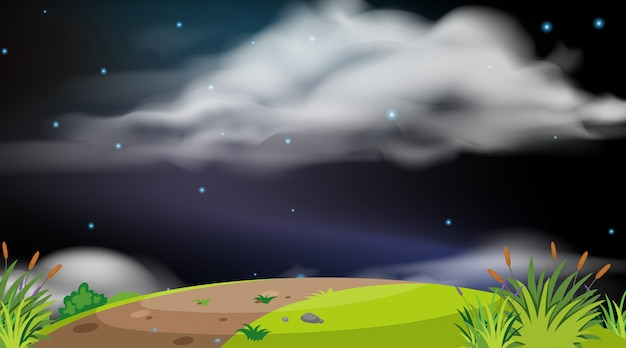 Background  of landscape with hill at night Premium Vector