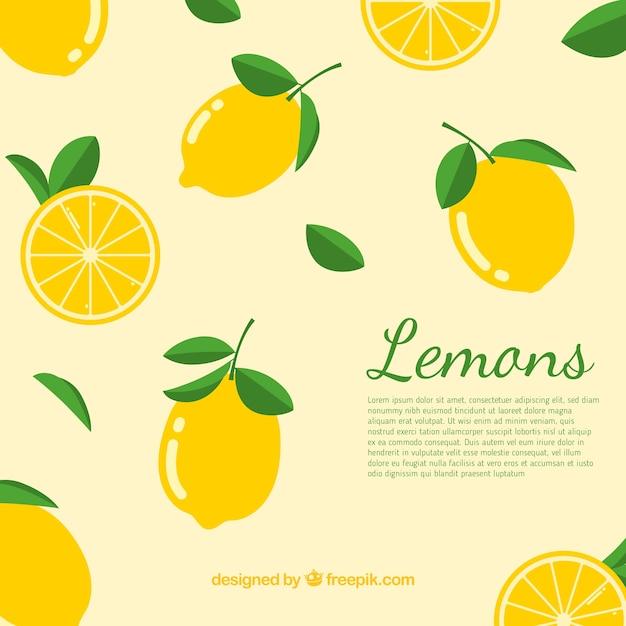 Background of lemons Free Vector