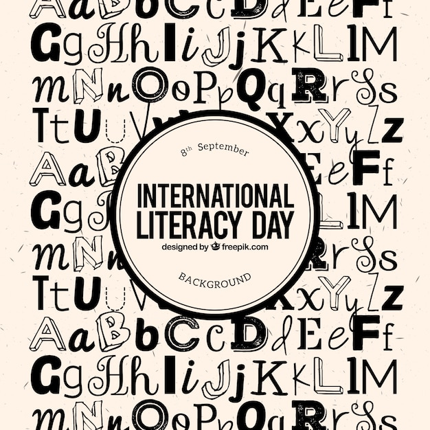 Background letters of literacy day Free Vector