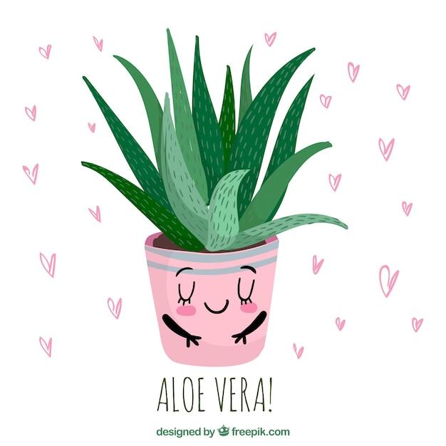 Background of lovely aloe vera flowerpot Free Vector