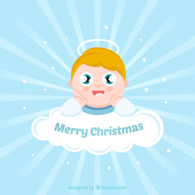 Background of lovely angel on a cloud Free Vector