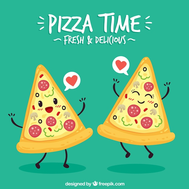 Background of lovely couple of pizza Free Vector