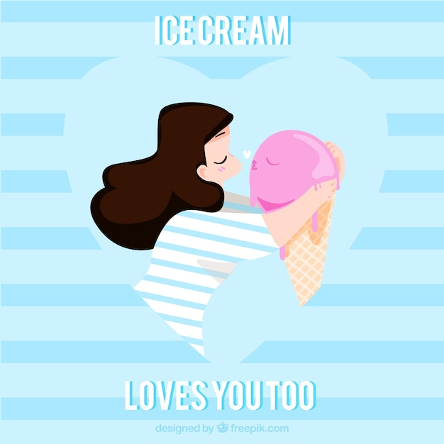 Background of lovely girl kissing an ice-cream Free Vector