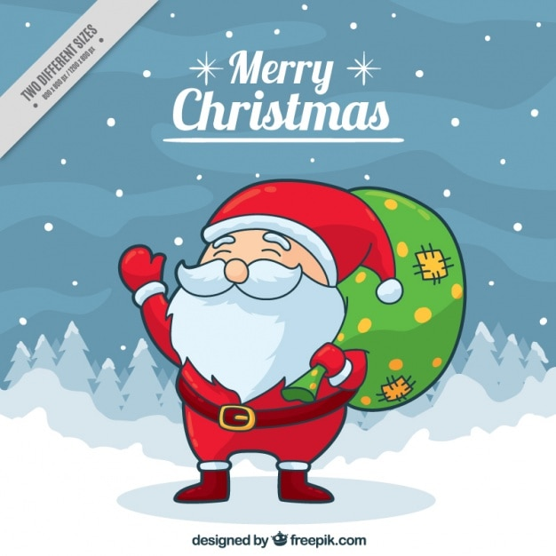 Background of lovely santa claus with a green sack Free Vector