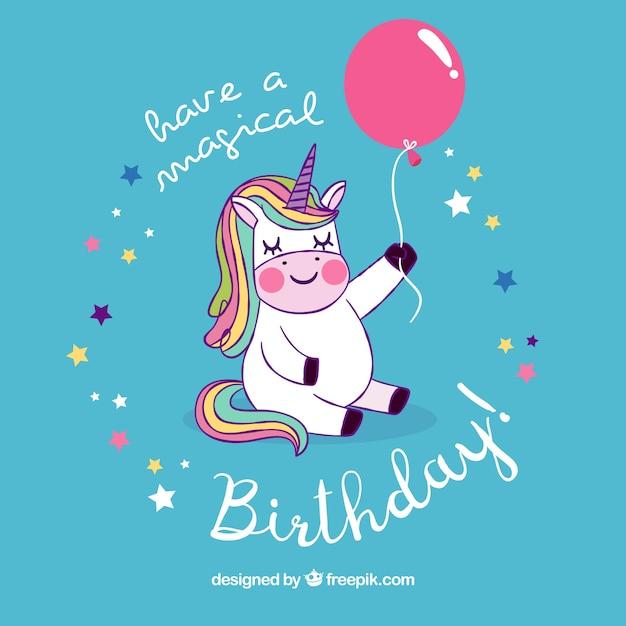 Background of lovely unicorn with birthday balloon Premium Vector
