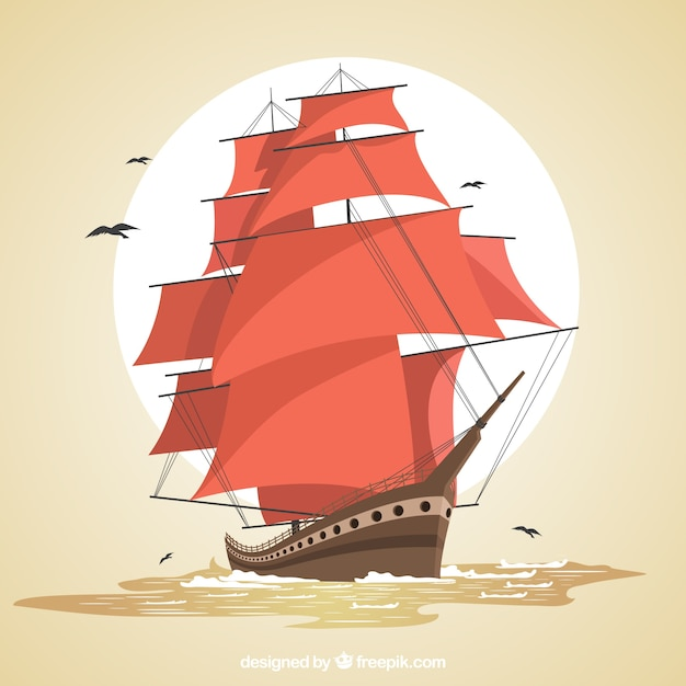 Background of majestic galleon Free Vector