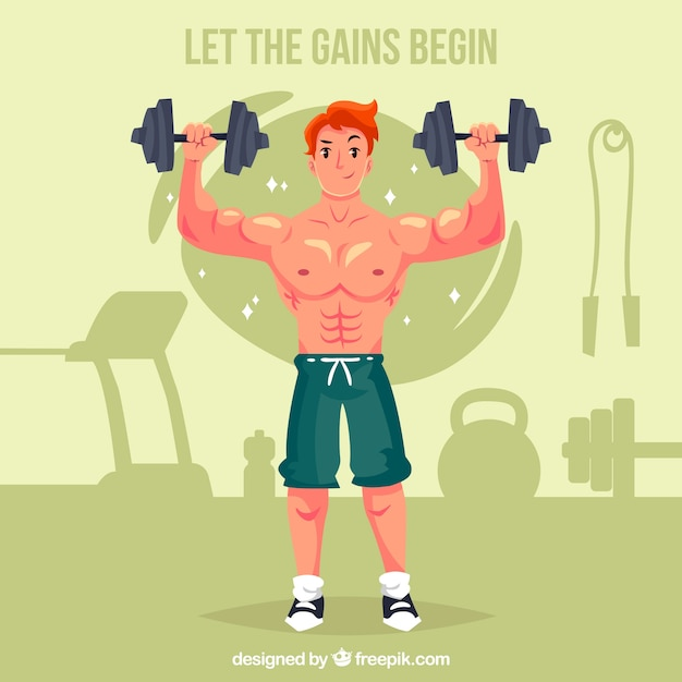 Background of man doing crossfit Free Vector