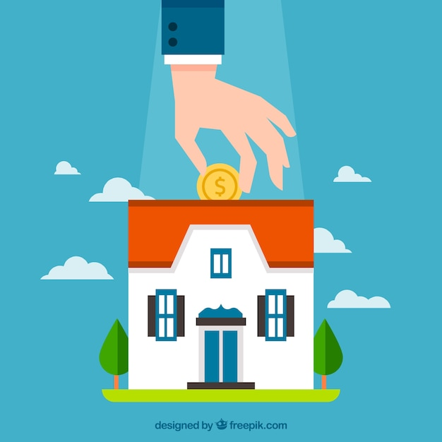 Background of man saving for a mortgage Free Vector