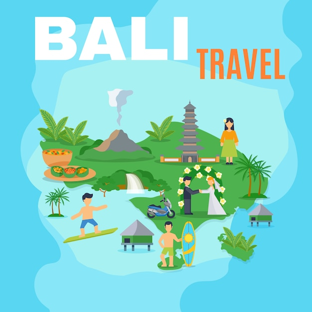 Background map bali travel Free Vector