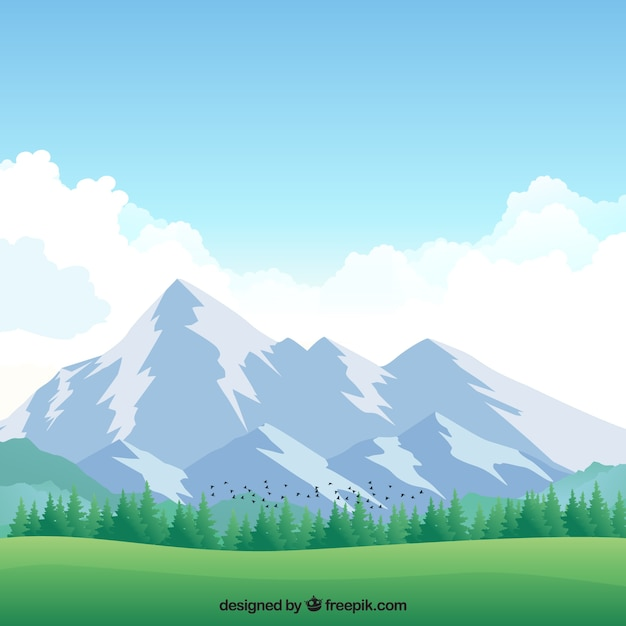 Background of meadow with snowy mountains Free Vector