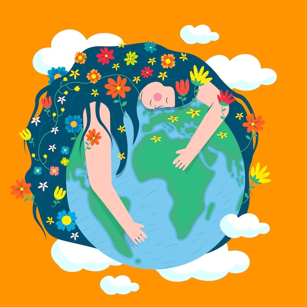 Background of mother earth day in flat design style Free Vector
