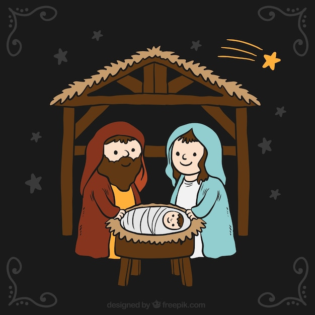 Background of nativity scene with night sky and shooting star Free Vector