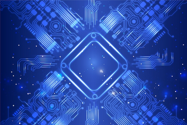 Background neon circuit board Free Vector