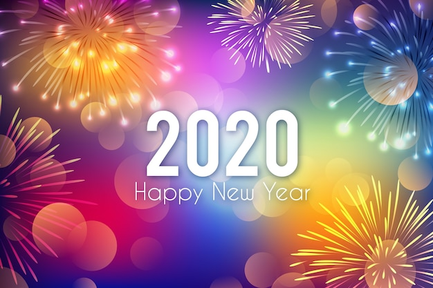 Background new year fireworks Free Vector