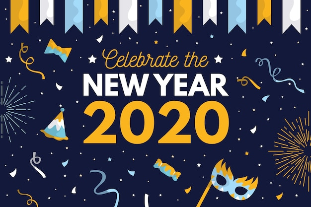 Background new year in flat design Free Vector