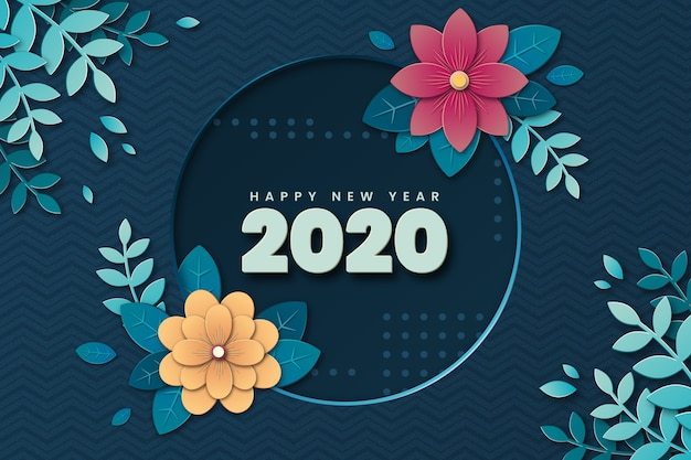 Background new year in paper style Free Vector
