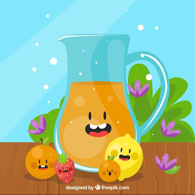 Background of nice jug of juice with fruits Free Vector