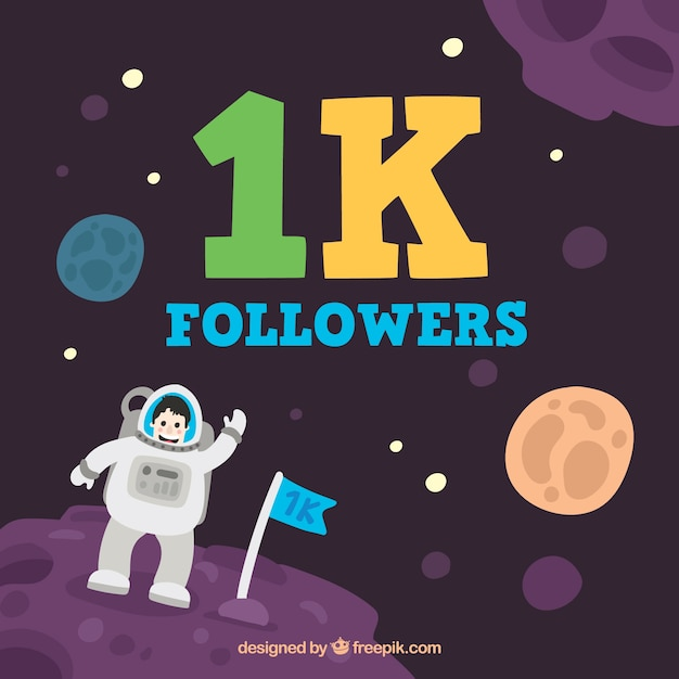 Background of 1000 followers with astronaut in space