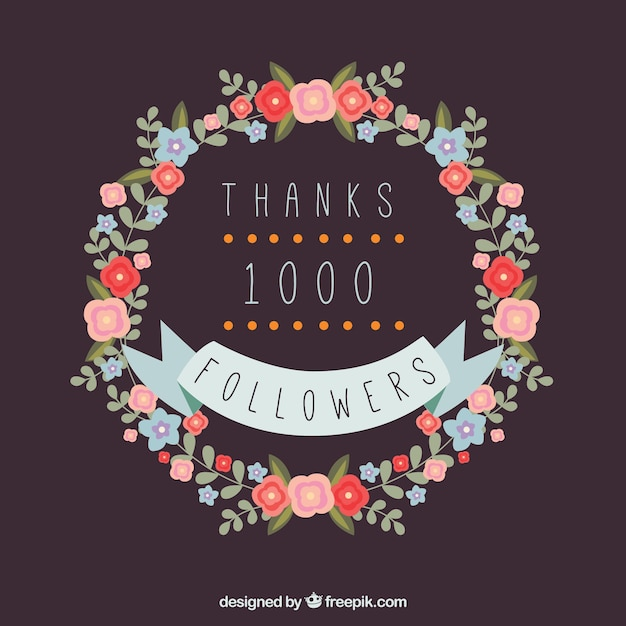 Background of a 1k followers with floral wreath Free Vector