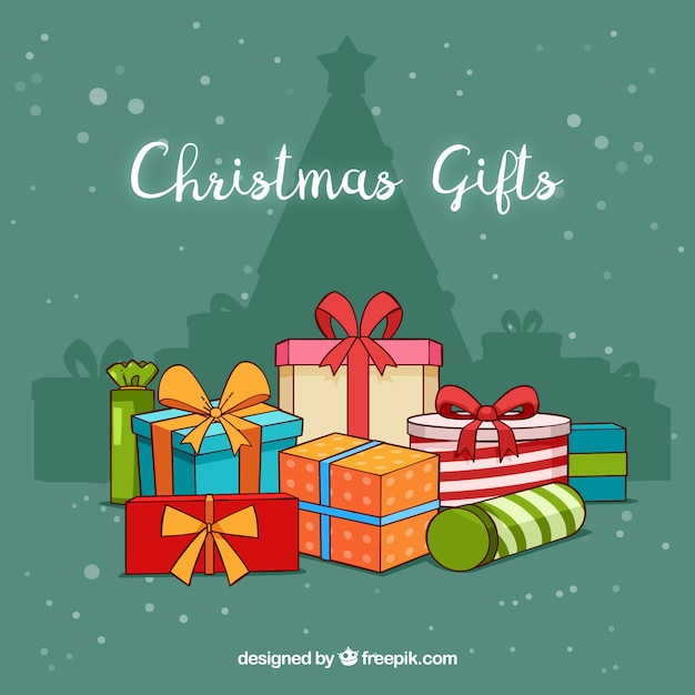 Background Of A Pile Christmas Gifts Free Vector