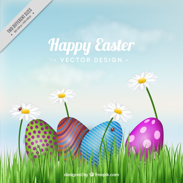 Background Of Abstract Easter Eggs On The Grass Vector