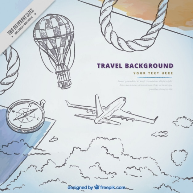 Background of airplane sketches and travel\ elements