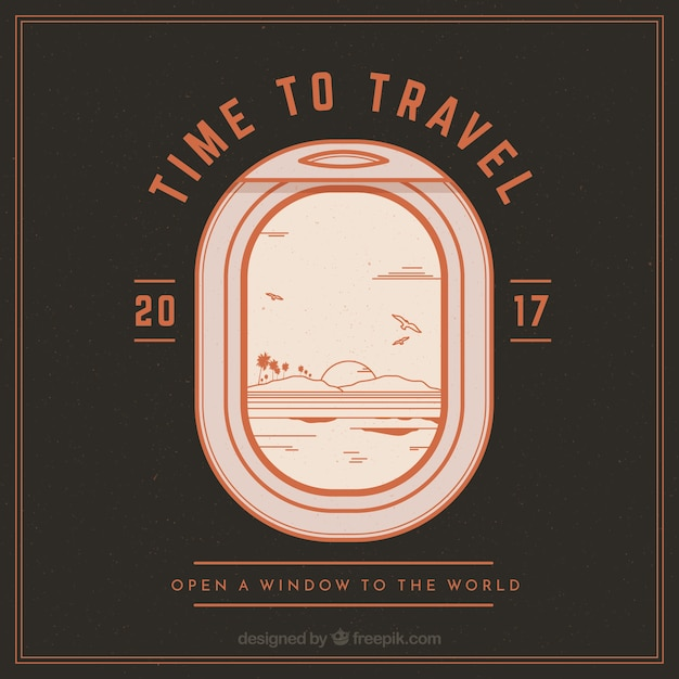 Background of airplane small window in vintage\ style