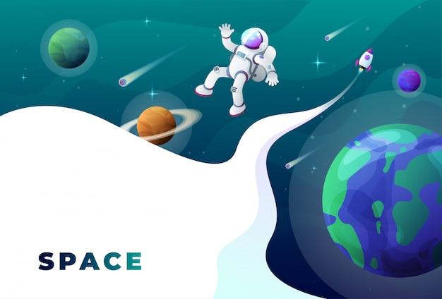 Фон космонавта в космосе Premium векторы