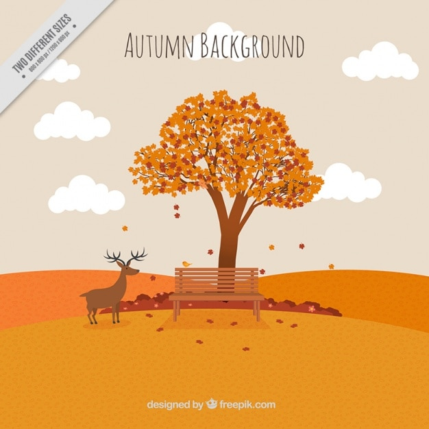 Background of autumn landscape with tree and a\ deer