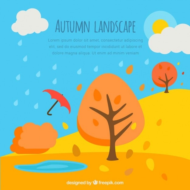 Background of autumnal landscape with trees and\ umbrella