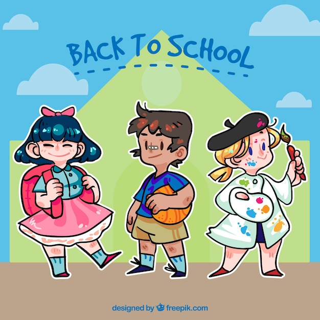 Background of back to school with hand drawn children
