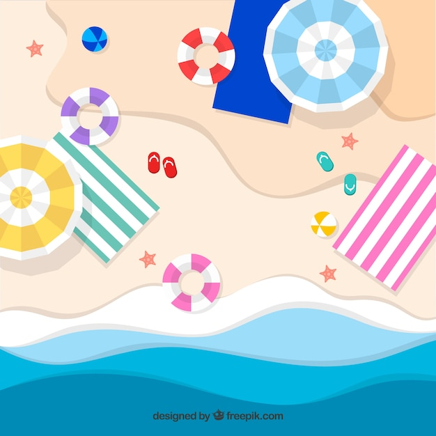 Background of beach from the top in paper\ style