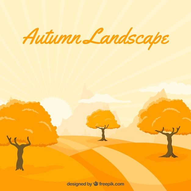 Background of beautiful autumnal\ landscape