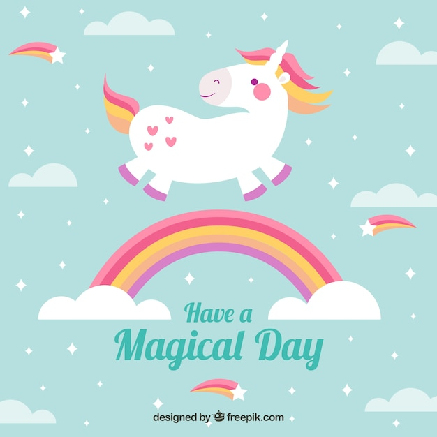 Background of beautiful unicorn flying and rainbow with clouds