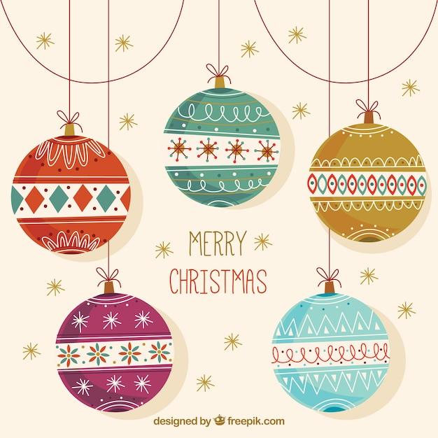 Фон красивых старинных рождественских шаров Бесплатные векторы