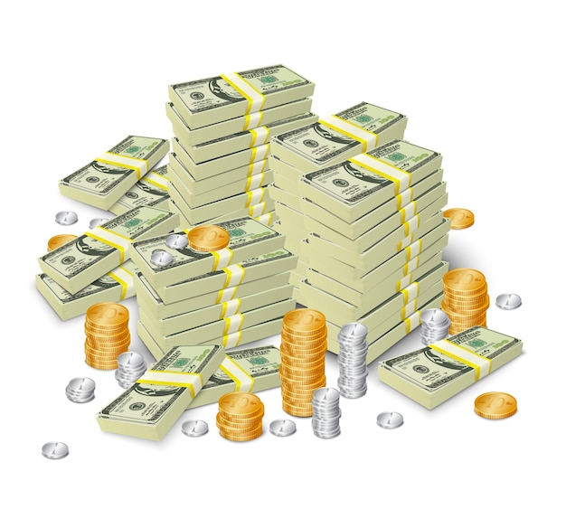 Background of bills and coins Premium Vector