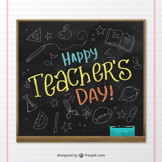 Background of blackboard with drawings for the\ teacher day