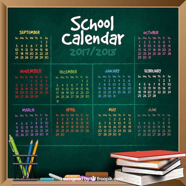 Background of blackboard with months of colors