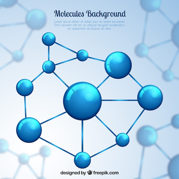 background of blue molecular structure vector free download
