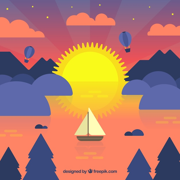 Background of boat in the sea at sunset in flat\ design