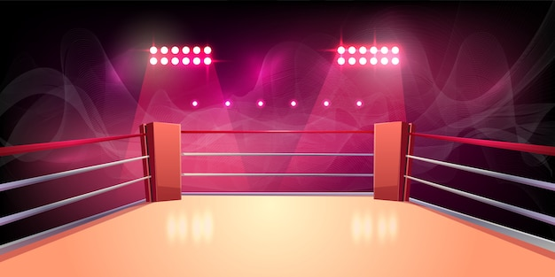 권투 링, 싸움, 위험한 스포츠 조명 된 스포츠 영역의 배경. 무료 벡터