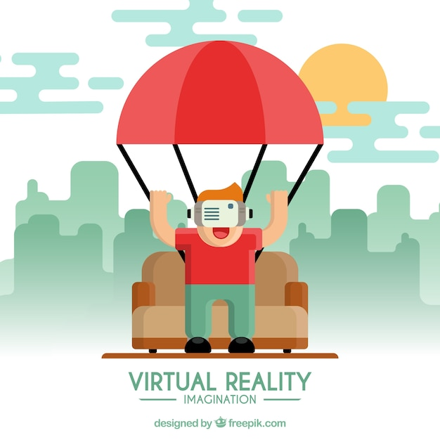 Background Of Boy Playing With Virtual Reality Glasses In
